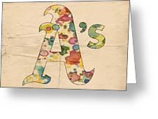 Oakland Athletics Logo Vintage Greeting Card