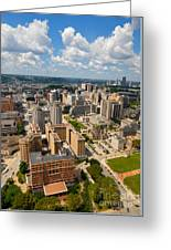 Oakland Pitt Campus With City Of Pittsburgh In The Distance Greeting Card