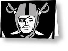 Oakland Raiders Greeting Card by Tony Rubino