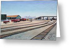 Oakland Train Tracks And San Francisco Skyline Greeting Card