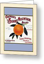 Oatmans Sunny Mountain Brand Oranges Vertical Greeting Card