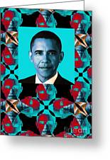 Obama Abstract Window 20130202verticalm180 Greeting Card by Wingsdomain Art and Photography
