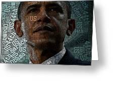 Obama Text Art Greeting Card