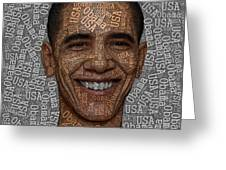Obama Typography Text Art Greeting Card