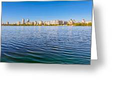 Obolon Skyline Close To The Dnieper River In Kiev Greeting Card