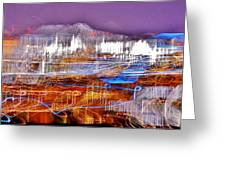 Ocean City By Night - Abstract Purple Greeting Card
