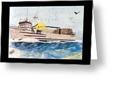 Ocean Olympic King Crab Fishing Boat Nautical Chart Map Art Greeting Card