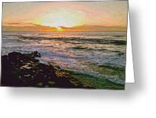 Ocean Sunset In San Diego Greeting Card