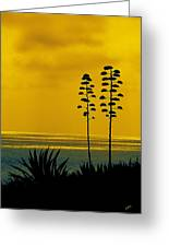 Ocean Sunset With Agave Silhouette Greeting Card