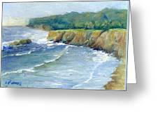 Ocean Surf Colorful Original Seascape Painting Greeting Card