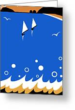 Ocean View In Gold And Blue Greeting Card