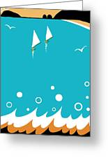 Ocean View In Gold And Turquoise Greeting Card