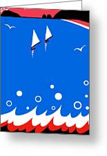 Ocean View In Red White And Blue Greeting Card