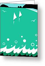 Ocean View In Shades Of Blue Green Greeting Card