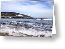 Ocean Waves Blue Sky And A Surfer At Malibu Beach Pier Greeting Card