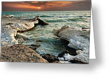 Ocean Waves Lapping At A Shoreline Greeting Card