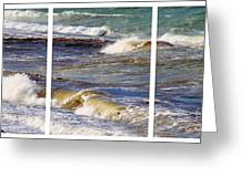 Ocean Waves Triptych Greeting Card