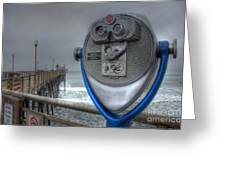Oceanside Pier California Binocular Vision Greeting Card by Bob Christopher