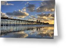 Oceanside Pier Sunset Reflection Greeting Card
