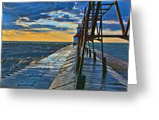 October Sunset At St. Joseph Lighthouse - Simulated Oil  Greeting Card