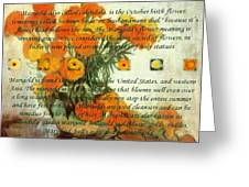 October's Child Birthday Card With Text And Marigolds Greeting Card