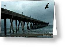 Oean Pier - Surreal Stormy Blue Pier Beach Ocean Fishing Pier With Seagull Greeting Card by Kathy Fornal