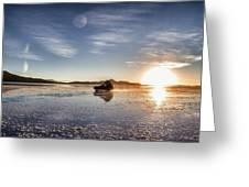 Off Road Uyuni Salt Flat Tour Dramatic Greeting Card