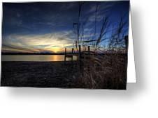 Off Season Sunset At The Lake Greeting Card