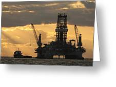Offshore Rig At Dawn Greeting Card