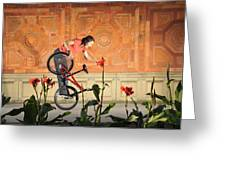 Oh A Pretty Flower - Funny Bmx Flatland Pic With Monika Hinz Greeting Card
