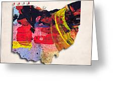Ohio Map Art - Painted Map Of Ohio Greeting Card