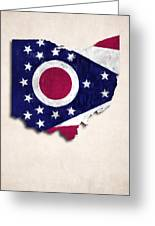 Ohio Map Art With Flag Design Greeting Card