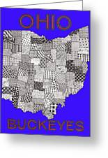 Ohio Map Blue Greeting Card