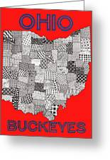 Ohio Map Red Greeting Card