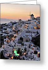 Oia Town During Sunset Greeting Card