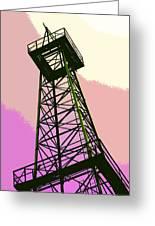 Oil Derrick In Pink Greeting Card