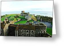Oil Painting - Aerial View Of Dover Castle Greeting Card