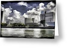 Oil Painting - Buildings Along The Waterfront In Singapore Greeting Card