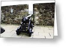 Oil Painting - Cannons And Cannon Balls At Walls Of Stirling Castle Greeting Card