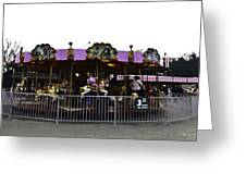Oil Painting - Children And Adults At The Merry Go Round Inside The Blair Drumm Greeting Card