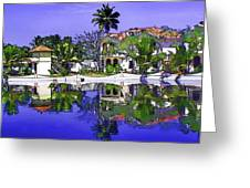 Oil Painting - Cottages And Lagoon Water Greeting Card