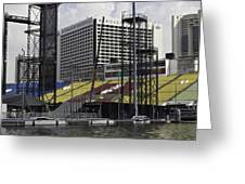 Oil Painting - Floating Platform And Construction Site In The Marina Bay Area Greeting Card