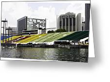 Oil Painting - Floating Platform In The Marina Bay Area In Singapore Greeting Card
