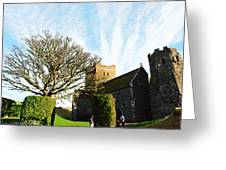 Oil Painting - Lighthouse And Church Inside Dover Castle Greeting Card