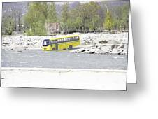 Oil Painting - School Bus In A Mountain Stream On The Outskirts Of Srinagar Greeting Card