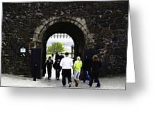 Oil Painting - Staff And Tourists At The Entrance Of Stirling Castle Greeting Card
