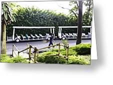 Oil Painting - Stationary Battery Powered Tourist Transport Vehicle Inside The Jurong Bird Park Greeting Card