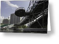 Oil Painting - The Bayfront Bridge And Helix Bridge In Singapore Greeting Card