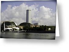 Oil Painting - The Swissotel Is A Tall Hotel In Singapore Next To The Esplanade Greeting Card