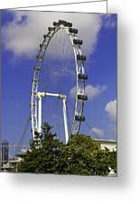 Oil Painting - The Wheel Of Singapore Flyer Greeting Card